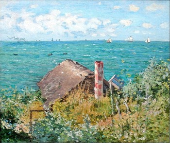 High quality Oil painting Canvas Reproductions The Cabin at Saint-Adresse By Claude Monet hand painted