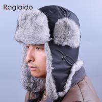 Russian Winter Hats For Men Waterproof Warm Real Rabbit Fur Hat Men's Bomber Hats Genuine Fur Trapper Hats LQ22003