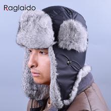 Russian Winter Hats For Men Waterproof Warm Real Rabbit Fur Hat Men's Bomber Hats Genuine Fur Trapper Hats LQ22001