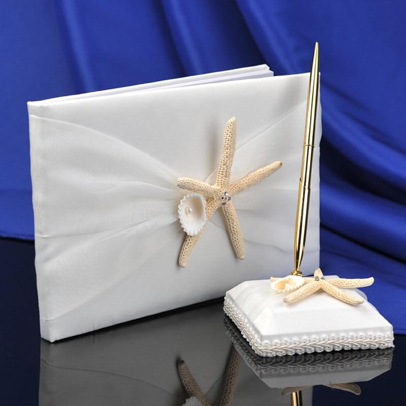 Groothandel Twee Bruiloft Set Zee Ster Gastenboek Pen Set voor Strand Bruiloft Benodigdheden Decoraties