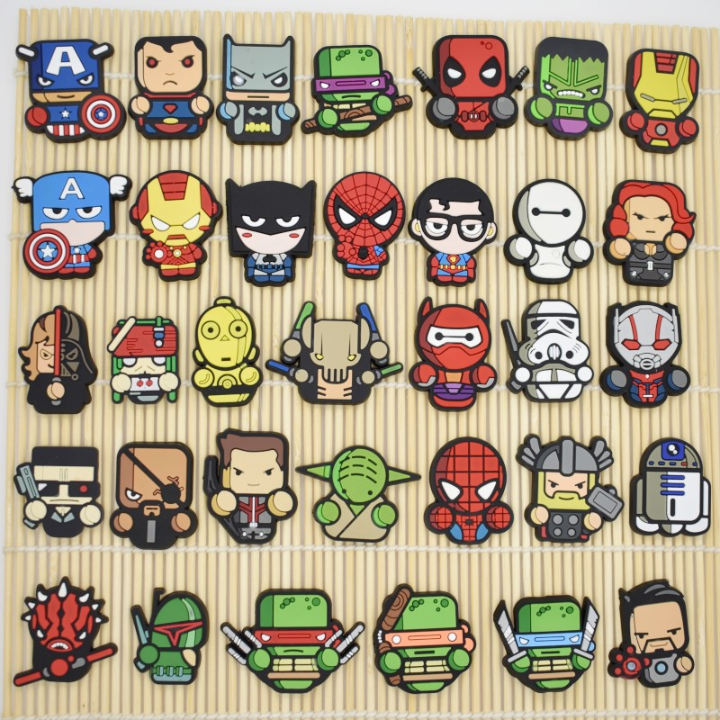 10PCS Cartoon Avenger Logo Flatback PVC DIY Craft For Wristband/Clog/Phone Case/Rings/Cable Winder Children Boys Birthday Gift