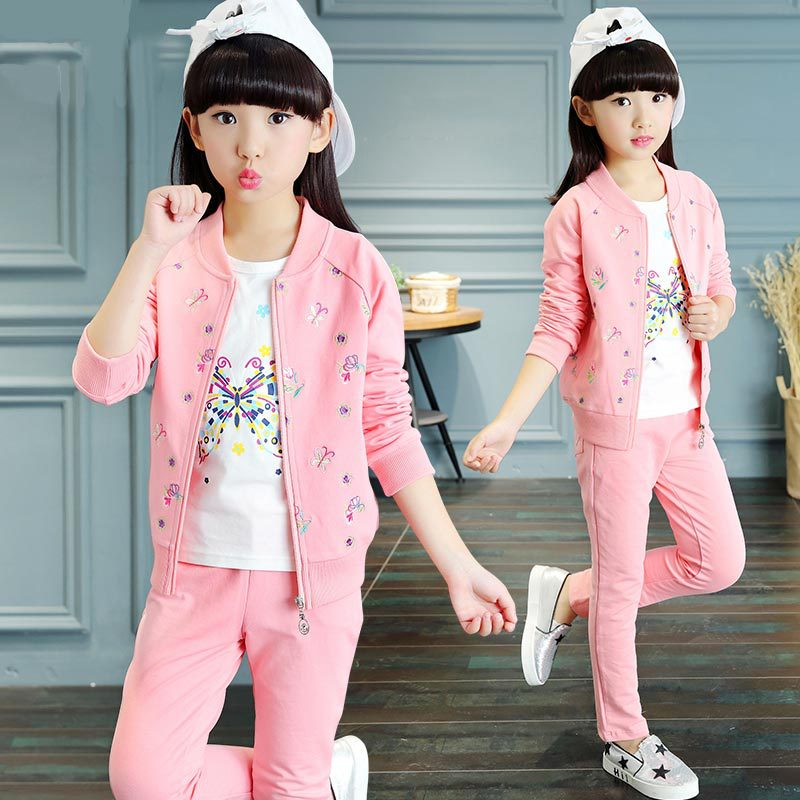 Spring Autumn Girls Tracksuit Child Coat + T-shirt + Pants 3 Piece Girl Outfit Sport Costums Girls Clothing Sets 4 6 8 10 12 14 стоимость