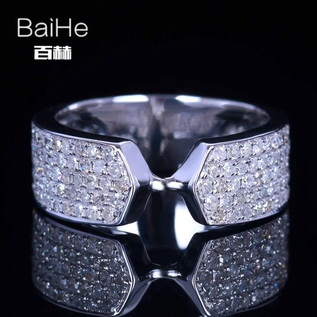 BAIHE Sterling Silver 925 0.8CT Certified H/SI Round Cut 100% Genuine Natural Diamonds Engagement Women Trendy Fine Jewelry Ring