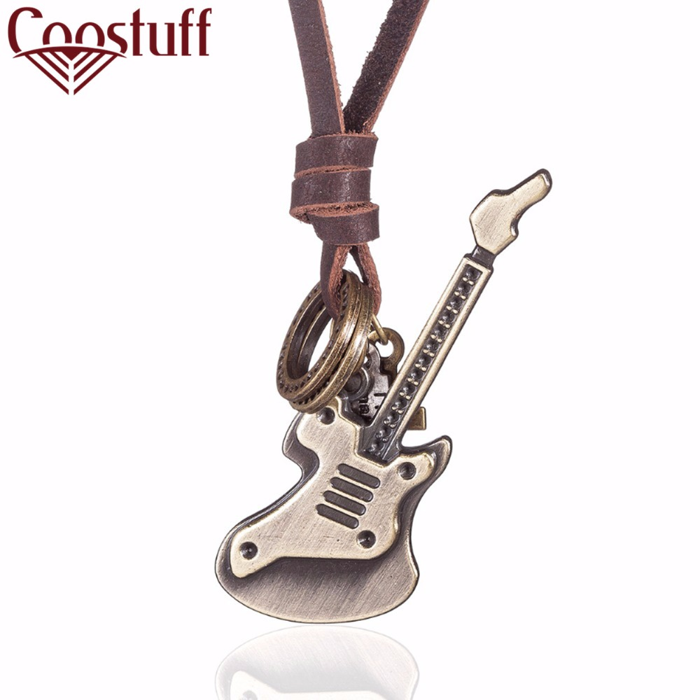 Vintage relogio Jewelry Guitar necklaces & pendants Women Necklace Genuine Leather Necklaces Men Necklace Choker collier kolye