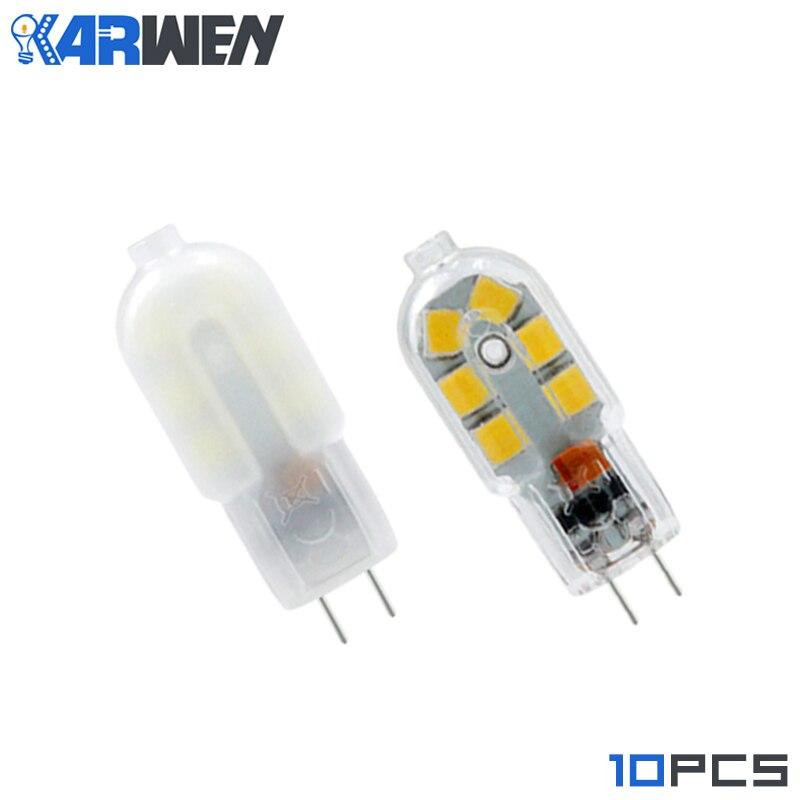 KARWEN 10 قطعة/الوحدة Lampada LED G4 مصباح واضح/غطاء لبني التيار المتناوب 220 فولت تيار مستمر 12 فولت 2 واط SMD2835 LED لمبة G4 صغيرة فائقة مشرق الثريا أضواء