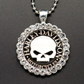 New BL0089 Round Rhinestone Skull Glass cabochon Necklace 60CM 2 Size DIY jewlery Stainless steel chain wholesale