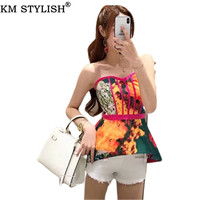2019 Summer New Trendy Tops & Tees Print Short Strapless Waist Slim Fit Fishbone Wrapped Chest Off Shoulder Tanks & Camis