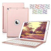 Protective Slim Hard Shell Folio Stand Smart Cover 7 Colors Backlit Wireless Bluetooth Keyboard For IPad
