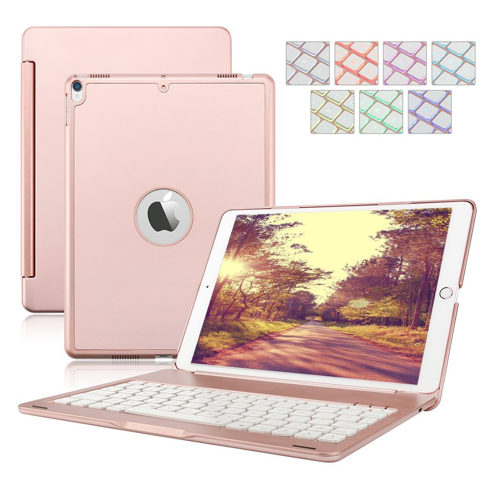 Wireless Bluetooth Keyboard For Apple iPad Pro 10.5 A1701 7 Colors Backlit Keyboard Case Hard Shell Folio Stand Smart Cover aluminum keyboard cover case with 7 colors backlight backlit wireless bluetooth keyboard