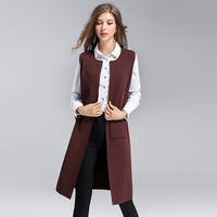 Long Vest Women Knitted Fabric Simple Designs Pockets Sleeveless Coat 2 Colors Solid Casual Vest New Fashion Style 2018