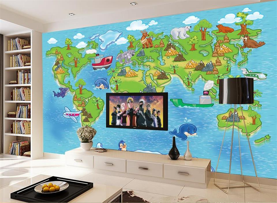 Custom 3d photo wallpaper livingroom mural Cartoon children animal world travel map photo sofa TV backdrop photo non-woven mural custom baby wallpaper snow white and the seven dwarfs bedroom for the children s room mural backdrop stereoscopic 3d