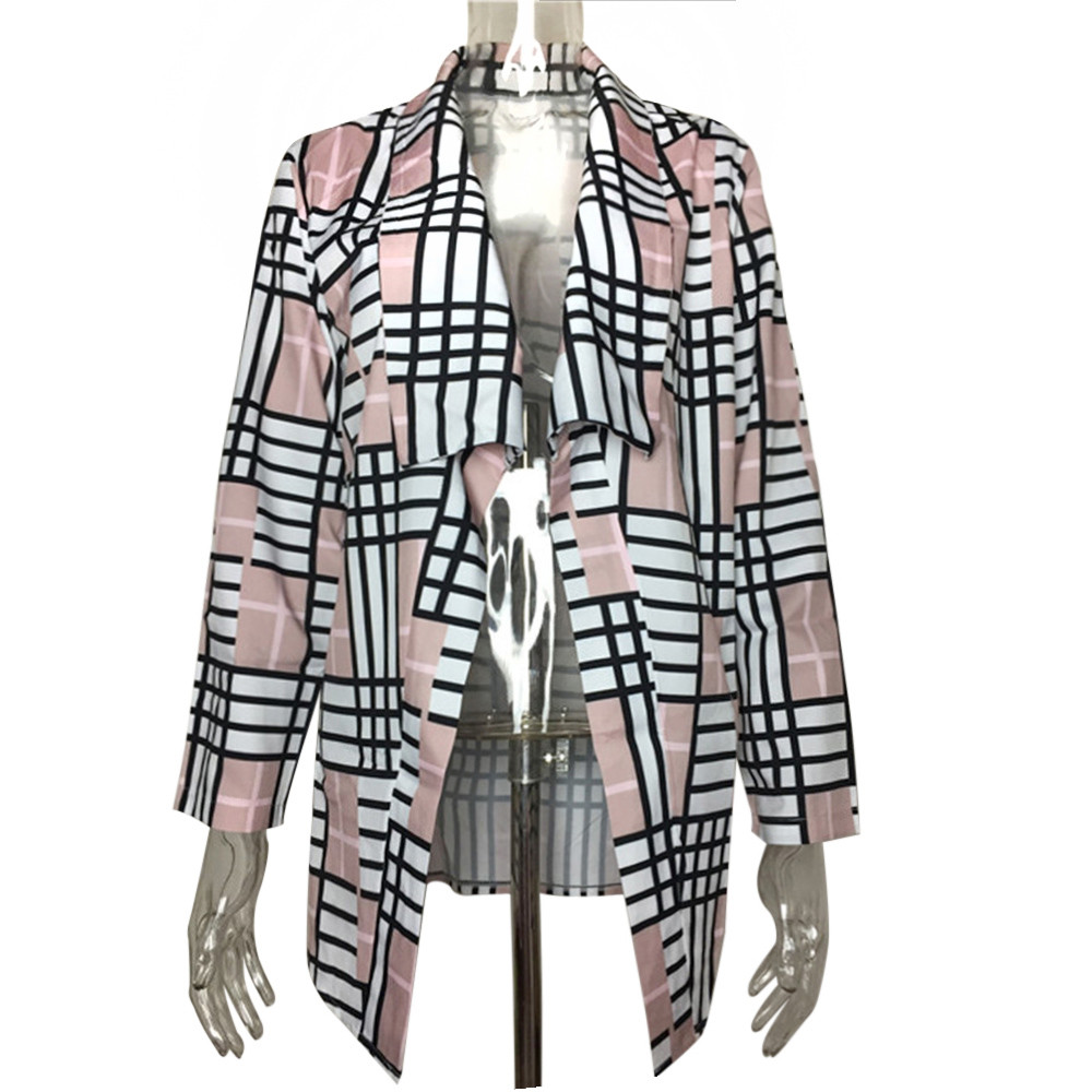 2017 KLV New Fashion Womens Casual Patch Plaid Long Sleeve Cardigan Coat Ladies Long Tops Blouse#20