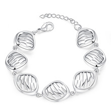 Factory price top quality Silver Plated&Stamped 925 hollow shell beads charms  link Bracelet Women wedding  jewerly