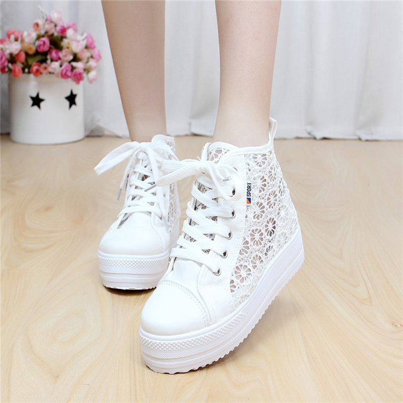 Woman Casual Shoes Lace Hollow Out Women's Platform Flat Shoes Z676 Tenis Feminino Plus Size Ladies Breathable Shoes Lace Up