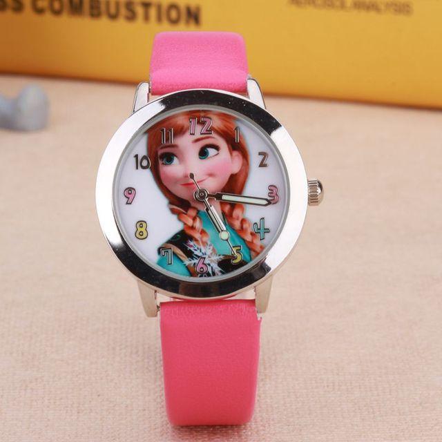 Low price! Leather quartz wrist watch Cartoon Children Watch Princess Elsa Anna