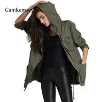 CamKemsey Military Army Green Jacket Coat Women 2018 Spring Autumn Casual Pockets Long Sleeve Hooded Jacket Women Overalls