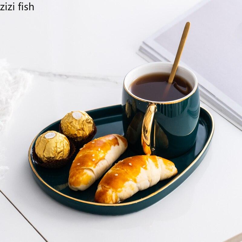 Креативный японский стиль Керамика Золотой обод кофейная чашка и блюдце набор дневная кружка для чая молока Dim sum блюдо Золотая ложка