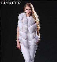 LIYAFUR 2018 Новый стиль натуральная с натуральным лисьим мехом жилет для Для женщин Женская зимняя обувь жилеты пальто куртка