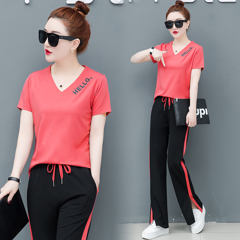 Pink 2 Piece Set Tracksuits for Women Pants and Top Outfit Sportswear Fitness Co ord Set Plus Size Large 2019 Summer Clothing in Women 39 s Sets from Women 39 s Clothing