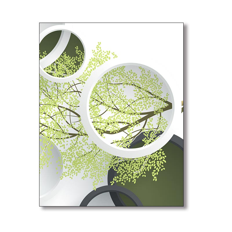 Купить с кэшбэком Geometric Plant Leaves Poster Green Wallpaper Minimalist Art Canvas Poster Painting Nature Wall Picture Office Room Decoration