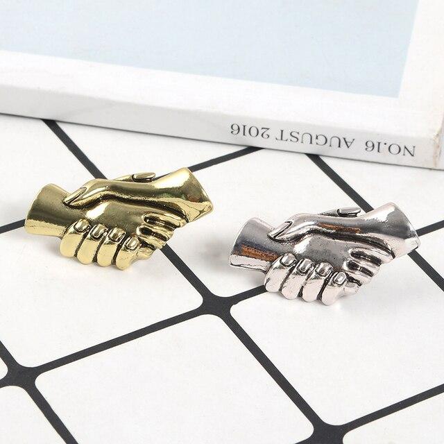Punk szkielet ręcznie szpilki i broszki metalowe OK pięść uścisk dłoni duża emalia Pin odznaki różnych gestów biżuteria dla kobiet prezent dla mężczyzny