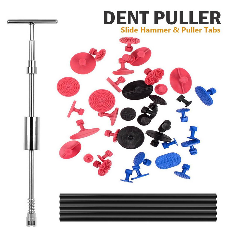 WHDZ 45PCS PDR Car Dent Repair Tools 2in1 Slide Hammer Glue and Tabs Dent Puller Paintless Removal Kit Puller Grip for SUV paintless dent puller repair pdr tools kit hail removal t bar slide hammer 18pcs glue puller tabs nin for dent removal paintless