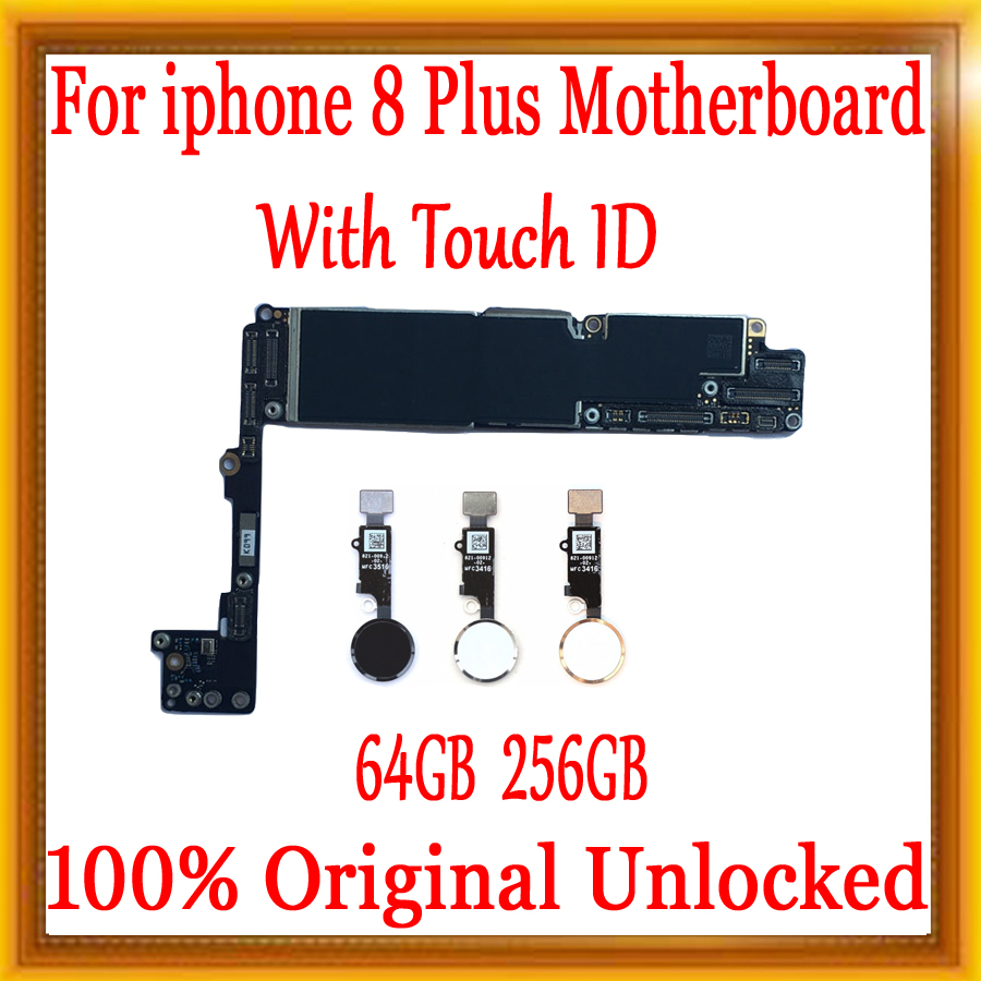 For <font><b>iPhone</b></font> <font><b>8</b></font> Plus <font><b>Motherboard</b></font> <font><b>with</b></font> <font><b>Touch</b></font> <font><b>ID</b></font>/without <font><b>Touch</b></font> <font><b>ID</b></font> Original unlocked for <font><b>iphone</b></font> <font><b>8</b></font> Plus Logic board 64GB / 256GB Plate image