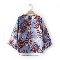 Women Spring Summer Bird Palm Leaves Painting Loose Blouse Pullover O Neck 3 4 Sleeve Colorful