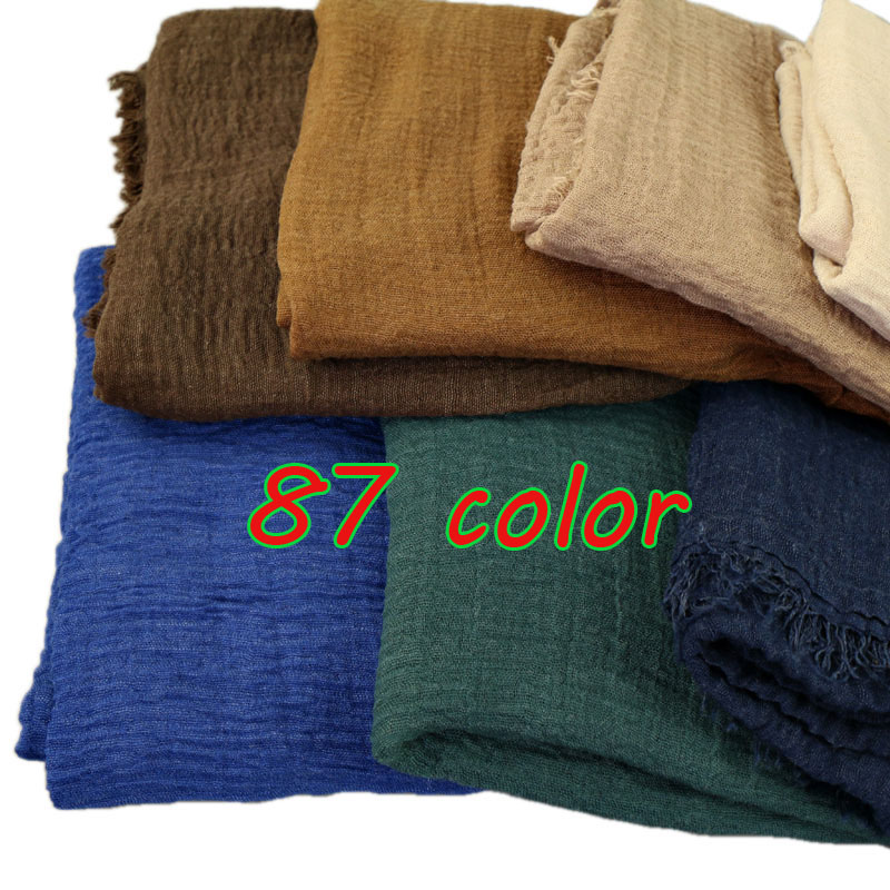 2017 NEW Crinkle Bubble Cotton Scarf Plain Popular Shawls Hijab Spring Wrinkle Wrap Muslim 85 Color Scarves/scarf 180*100cm