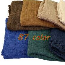 2020 muslimische Frauen Crinkle Hijab Schal Solide Baumwolle Kopf Schals Turban Schals Wraps Femme Muslimani Kopftuch 90 Farbe 10 teile/los