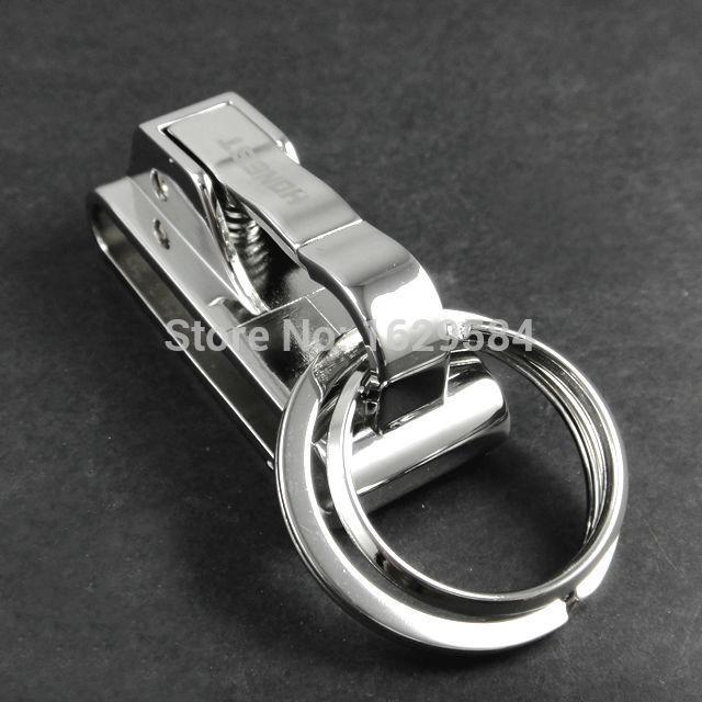 1ed7c666a04 Pince à boucle à ressort pour ceinture Double boucles porte clés porte clés  porte clés argent dans Clé Anneaux de Automobiles et Motos sur  AliExpress.com ...