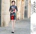 Shanghai Storyvestidos de fiesta Flower painting print traditional chinese cheongsam dress qipao national chinese dresses