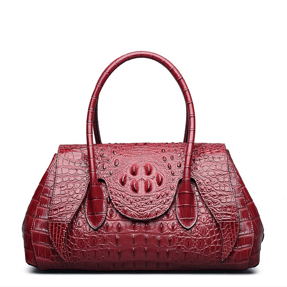 QISU  New Arrival Genuine Leather Handbags Women Aligator Clutch embossed crocodile Messenger Bag