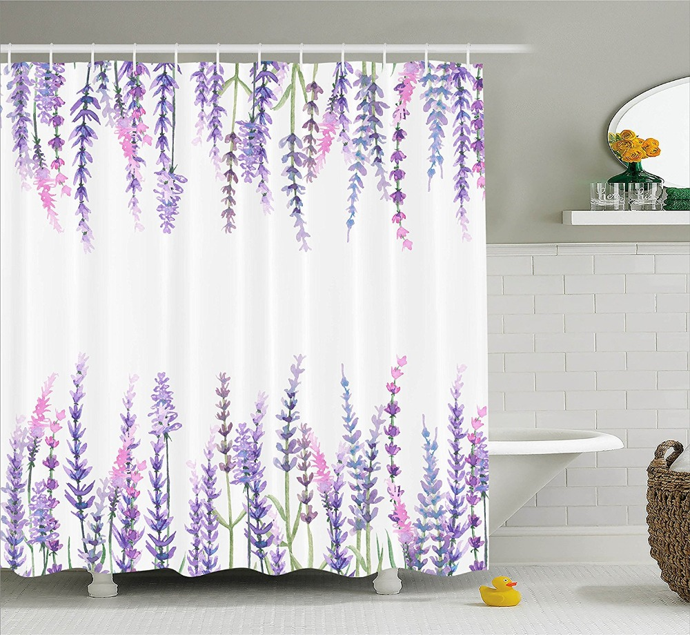 Compare Prices On Purple Kitchen Decor Online Shopping: Shower Curtain Purple Flower Lavender Plants Aromatic