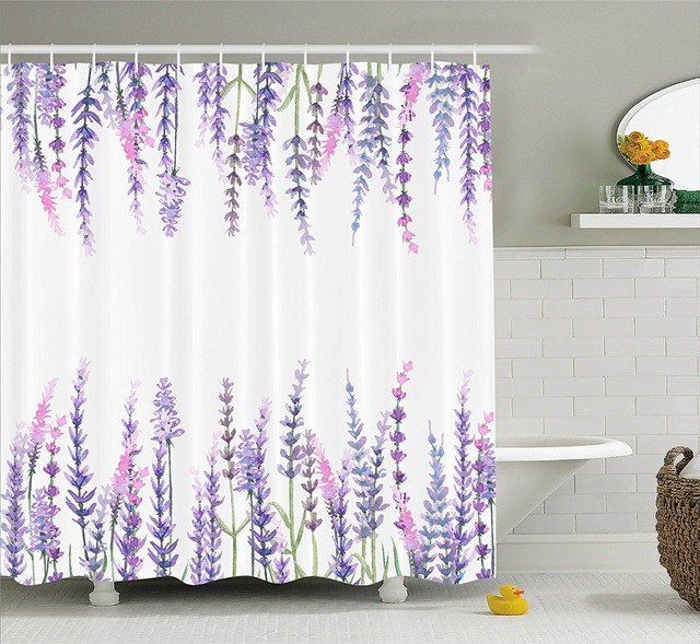 Shower Curtain Purple Flower Lavender Plants Aromatic Evergreen Shrub Lilac Waterproof Polyester Bathroom Decorative Curtains