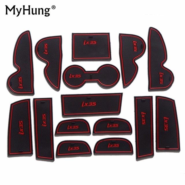 Neue Gummi Nicht-Slip Matten Innen Tür Pad Tasse Matten Für Hyundai IX35 2013 2014 2015 15Pcs Auto zubehör Auto Stying