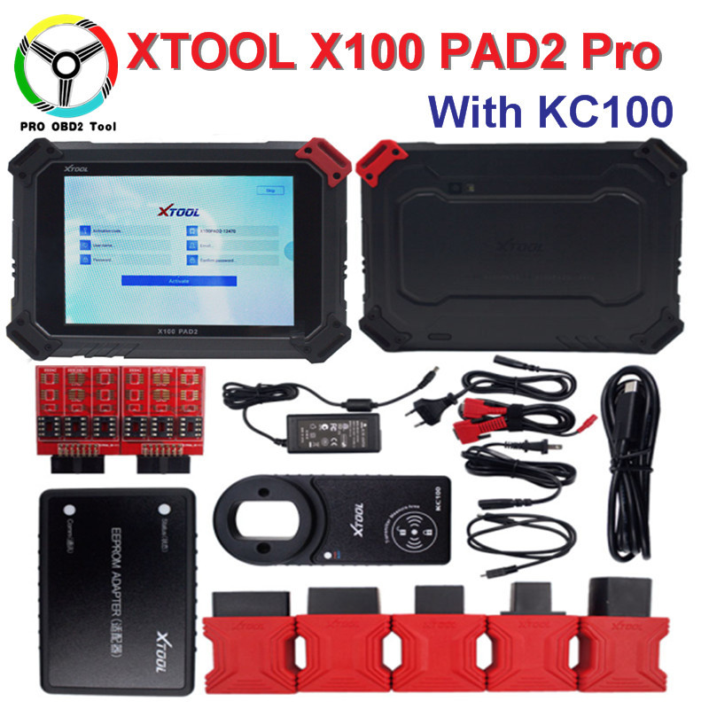 High Quality XTOOL X100 Pad2 Pro Auto Key Programmer With KC100 For VW 4th 5th Pro PAD 2 EPB EPS OBD2 Odometer DHL Free obdstar vag pro car key programmer epb airbag srs odometer mileage change obd 2 scan tool for vw audi skoda seat volkswagen