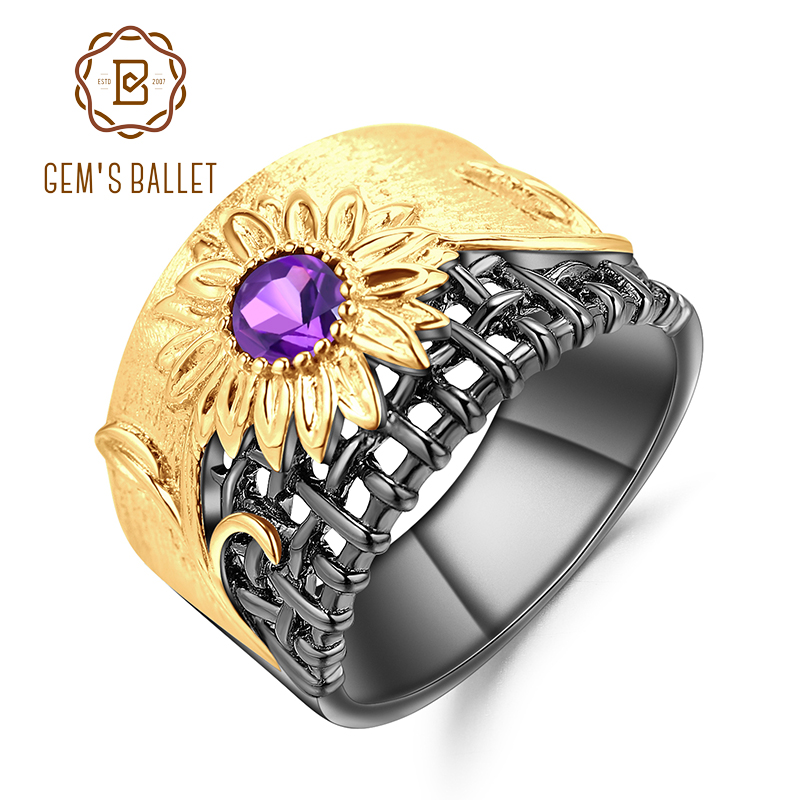 GEM'S BALLET Fine Jewelry 0.28Ct Natural Amethyst Gemstones Ring 925 Sterling Silver Handmade chrysanthemum Rings for Women