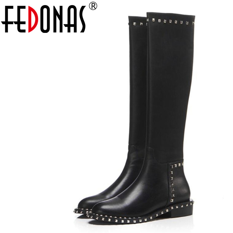 FEDONAS New Arrival Women Knee High Boots Autumn Winter Warm Genuine Leather High Heels Shoes Woman Round Toe Rivet Punk Boots 2018 new arrival genuine leather zipper runway autumn winter boots round toe high heels keep warm elegant women ankle boots l29