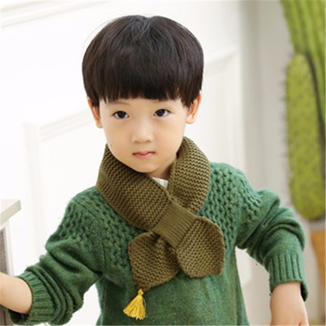 Online Shop New Fashion Kids Scarf Knitting Pattern Solid Scarves