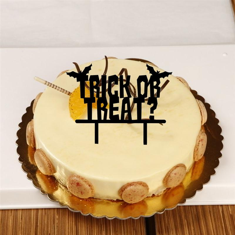 Trick or Treat Cake Topper Acrylic Halloween Cake Pick Sign Home ...