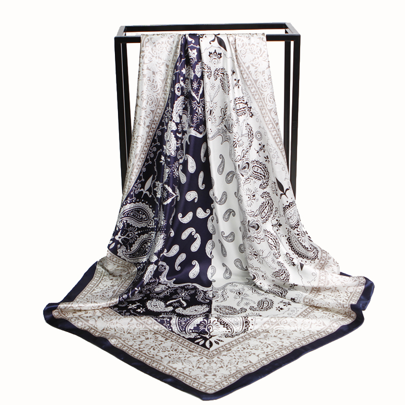 Pink Women Scarf Hijab Cashew Printed Neckerchief Color Block Head Wrap Foulard Square Silk Scarves Winter Warmer 90x90cm New