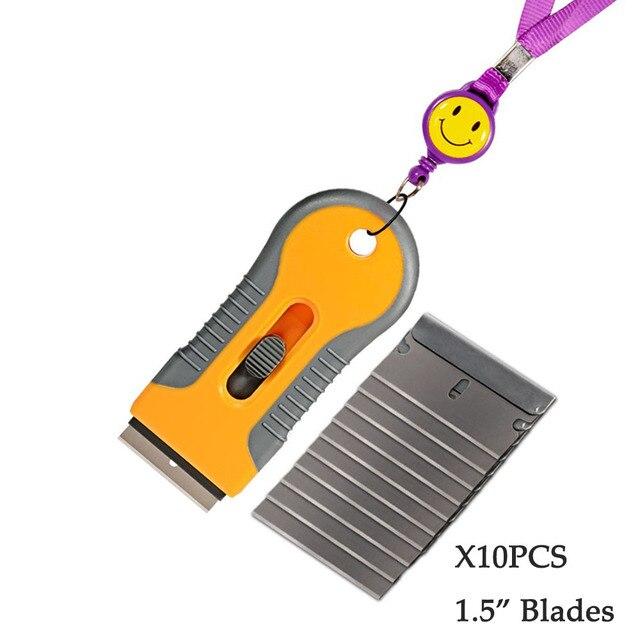 EHDIS – grattoir de rasoir avec lames en acier, outils de teinture, couteau, raclette de fenêtre, autocollant de voiture, Film vinyle, dissolvant de colle, 10 pièces