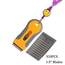 Ehdis raspador de lâmina com 10 pçs lâminas de aço faca tingimento ferramentas auto carro adesivo rodo janela vinil filme removedor cola raspador