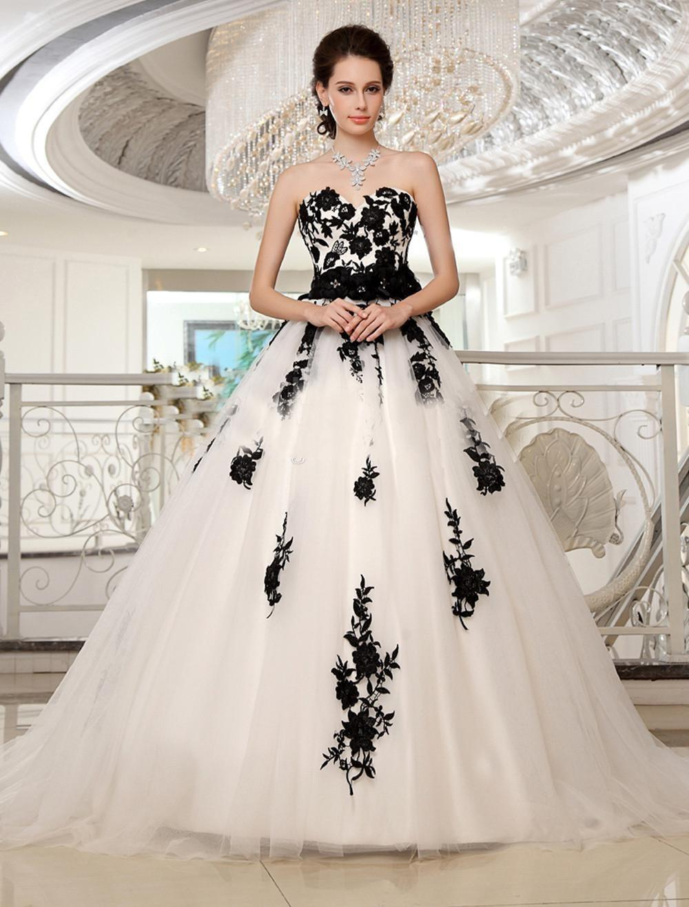 Compare Prices on Sweetheart Ball Gown Black and White Wedding ...