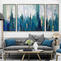 3 pieces Canvas oil painting cuadros decoracion quadros Nordic Acrylic abstract blue Painting Wall Art Pictures for living room