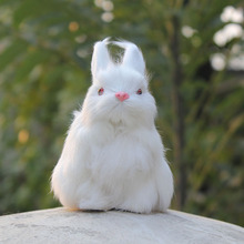 Hot Sale 12CM High Pure White Cute Hairy Lifelike Rabbit Christmas Ornaments