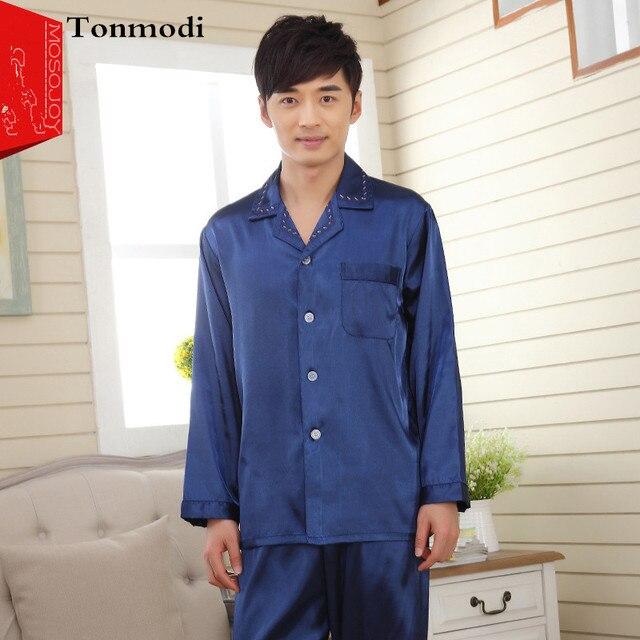 Pajamas Men Long Sleeve Mens Silk Pyjamas Satin Men's Lounge Pajama Sets Plus Size 3XL Pijama Hombre