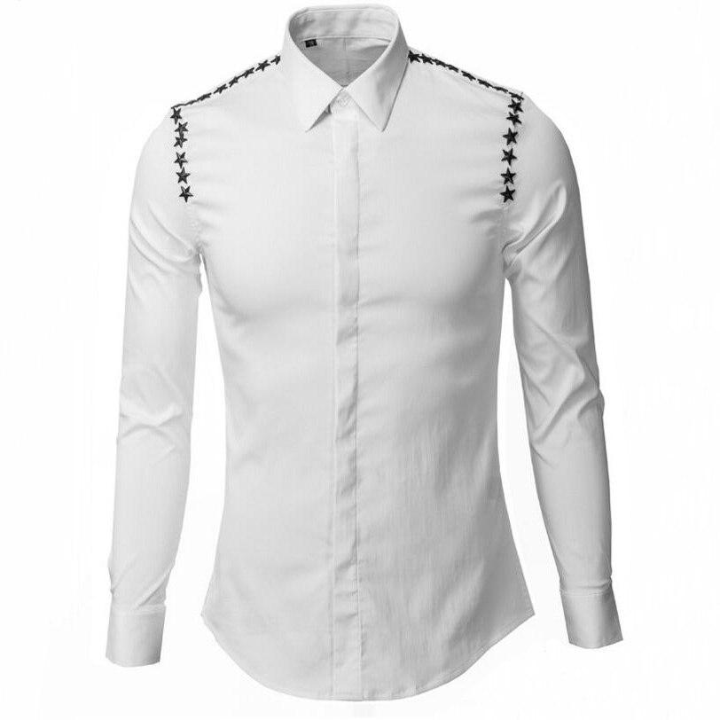 Personnalité Rivet étoile hommes chemises Slim corps classique Non repassage chemise décontracté respirant vêtements mode basique chemises M-3XL