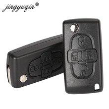 Jingyuqin – télécommande pliable à 4 boutons, pour Peugeot 1007 citroën C8, lame VA2 Hu82 non coupée, CE0523